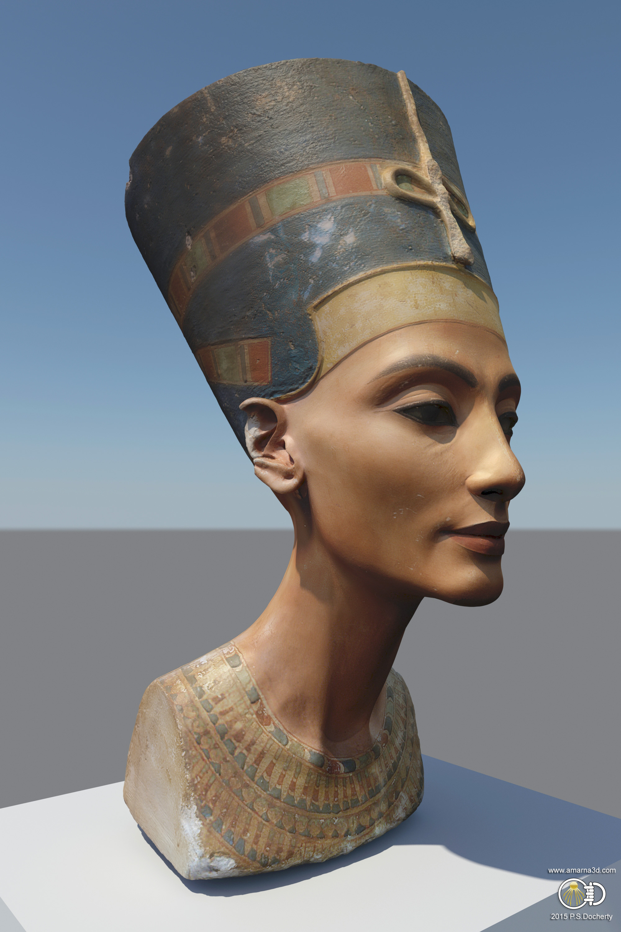 NefertitiHack Model re-textured by Paul Docherty www.amarna3d.com