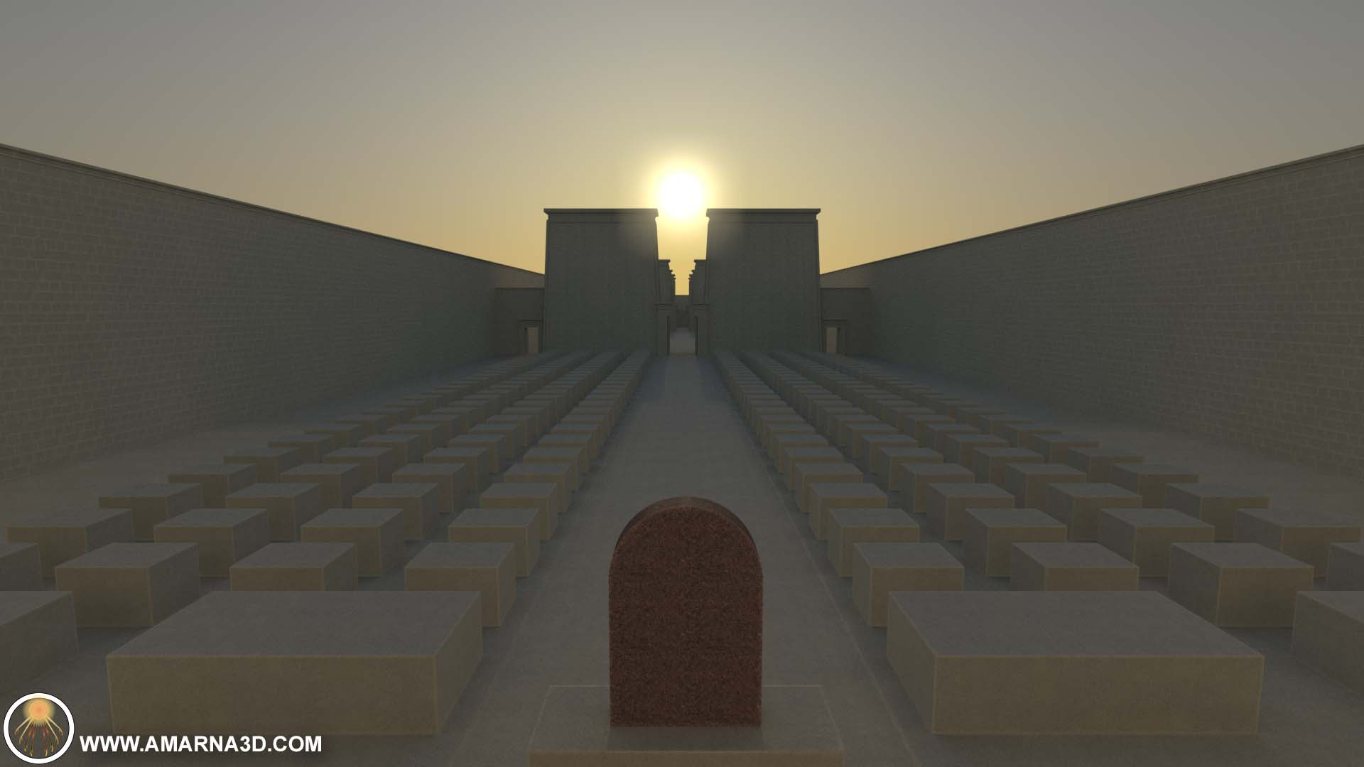 Sunlight Study for the Great Aten Temple - AMARNA:3D