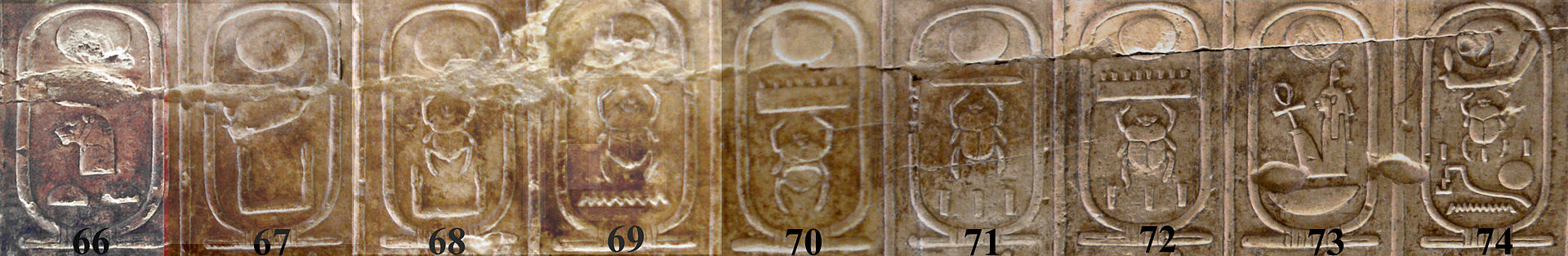 Figure 4, Royal Cartouches of the 18th Dynasty Pharaohs at Abydos. No 73 is Amenhotep III and No 74 is Horemheb. (image Wikimedia Commons)