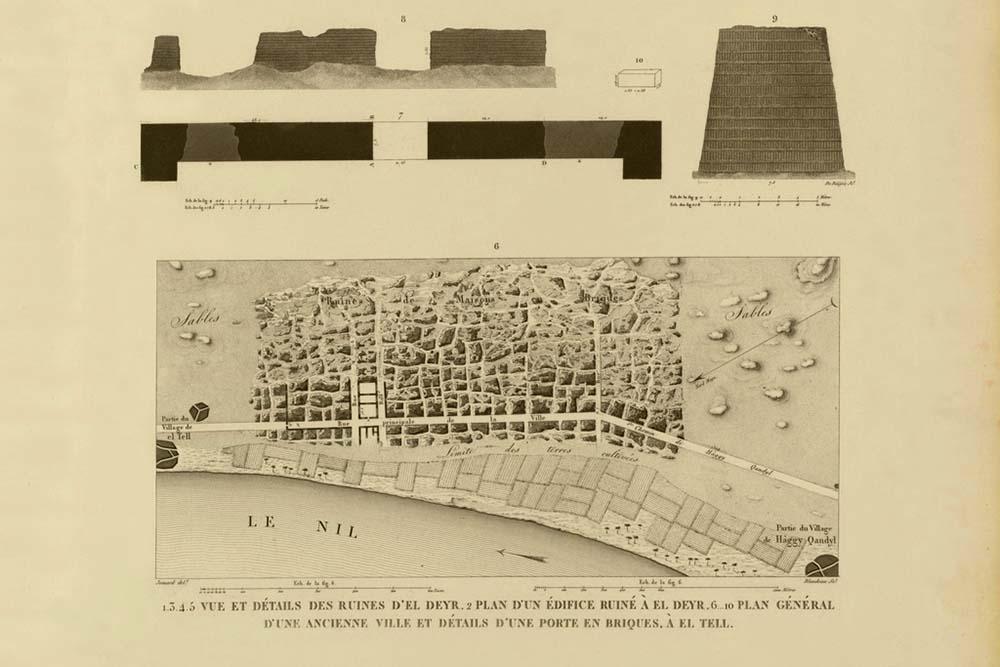 Figure 3, Edmé Jomard's Plan of Amarna and the Small Aten Temple Pylon (Commission des sciences et arts d'Egypte 1822, Pl 63)