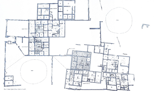 Figure 13, one of Borchardt's plans showing larger housing supported by smaller buildings. Plan 9 - Gehöft Q46.12,Häuser Q46.14-17 und 25 (Borchardt and Ricke 1980)