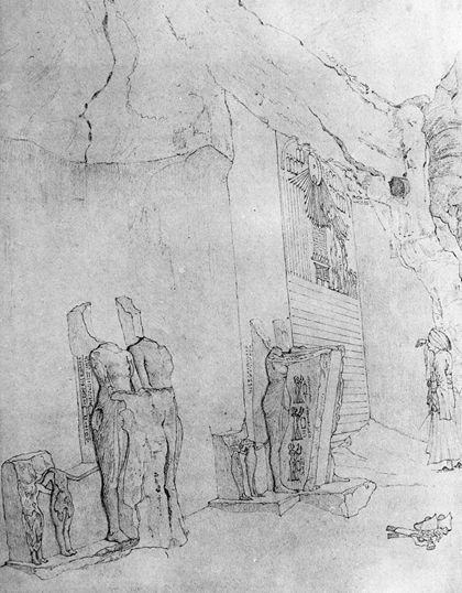 Figure 2, Robert Hay's sketch of Boundary Stela 'A' in 1827 (de G. Davies 1908a, Pl XLIII)