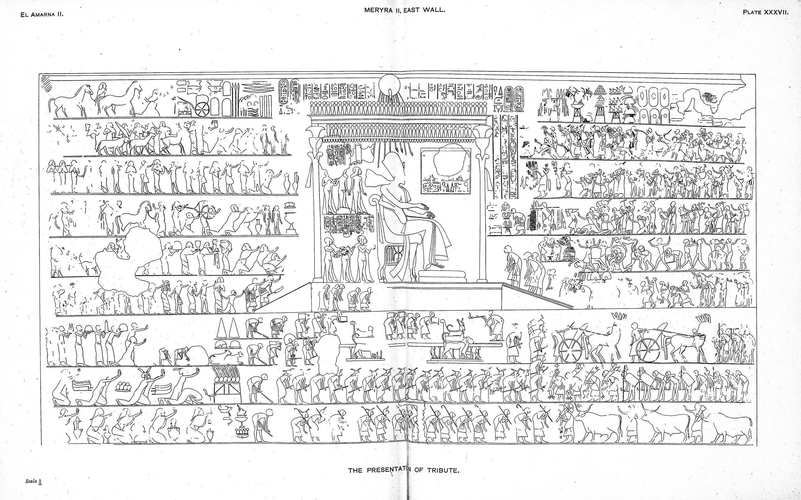 Figure 3, paying tribute to Akhenaten in year 12, tomb of Meryra II (de G. Davies, 1905, p. pl. XXXVII)