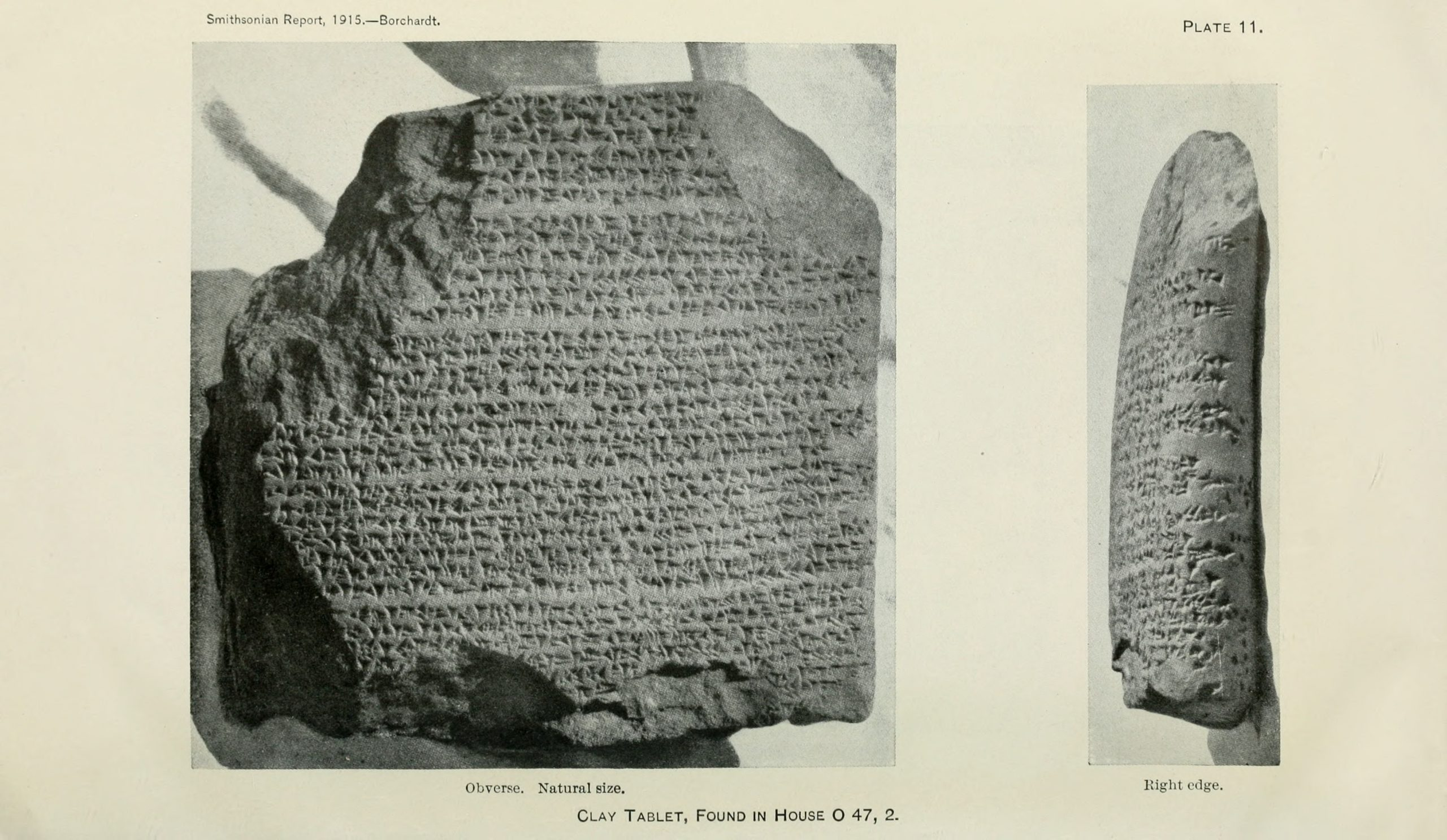 Figure 6, Clay Tablet found in House O47.2 (Borchardt 1916, Plate 11)
