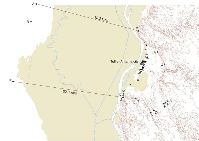 Figure 2, locations of the boundary stelae (Barry Kemp)